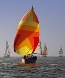 Sailing Boats. Race in Polish and German lake Stock Photo