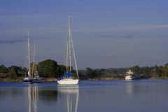 Sailing boats. Anchored up in archipelago Stock Image
