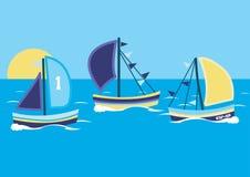 Sailing boats. Vector illustration of 2 sailing boats vector illustration