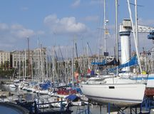 Sailing boats. Anchored in a marina. Photographed marina is in Barcelona royalty free stock photography