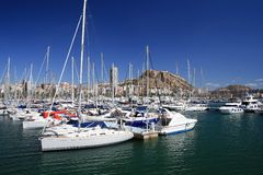 Sailing boats in Alicante port Stock Photography