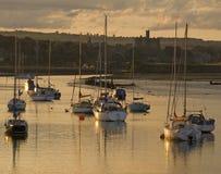 Sailing boats at Amble Harbour royalty free stock images