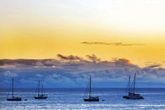 Sailing boats on anchor. Five sailing boats on anchor stock images