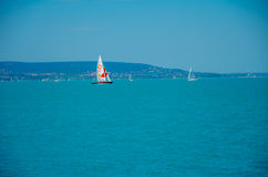 Sailing Boats on Balaton Lake stock photography