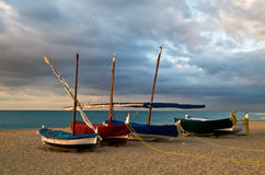 Sailing boats on beach Stock Photography