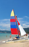 Sailing boats on the beach in Phuket, Thailand Stock Images