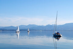 Sailing boats in the Chiemsee lake Royalty Free Stock Image
