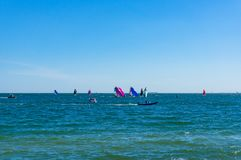 Sailing boats competition, rally at St. Kilda Beach, Melbourne stock images