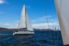 Sailing boats competitors of regatta. Royalty Free Stock Photography