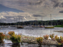 Sailing boats on coniston. Sailing boats moored on lake coniston in the english lake district Royalty Free Stock Image