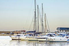 Sailing boats in Constanta port, Romania Stock Images