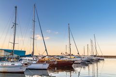 Sailing boats in Constanta port, Romania Stock Photo