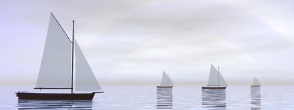 Sailing boats - 3D render. Several sailing boats floating on the water in front of hard white sun vector illustration