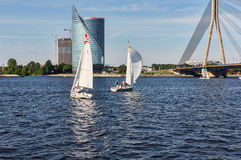 Sailing boats on the Daugava River. Royalty Free Stock Photography