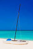 Sailing boats on a deserted beach in Cuba Stock Images