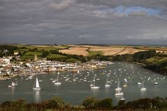 Sailing boats in Devon bay Royalty Free Stock Photos