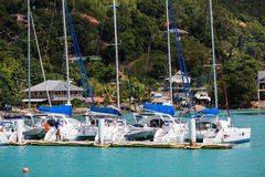 Sailing boats docked Royalty Free Stock Images