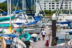 Sailing boats docked Stock Photography
