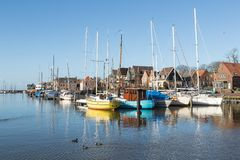 Sailing boats in Dutch harbor of Urk Royalty Free Stock Photo