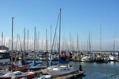 Sailing boats at Fishermans Wharf in SF Royalty Free Stock Photo