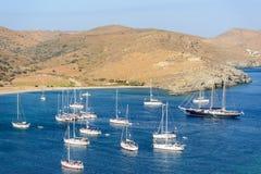 Sailing boats at Fykiada Stock Images