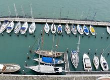 Sailing boats in the harbor Stock Photos