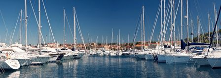 The sailing boats in harbor Royalty Free Stock Photography
