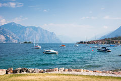 Sailing Boats at Lake Garda Stock Image