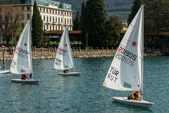 Sailing Boats Lake Garda Italy Stock Photo