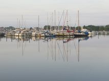 Sailing boats in late afternoon sun Royalty Free Stock Photography