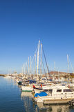 Sailing Boats lie in the harbor Stock Images