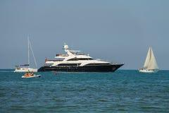 Sailing boats in Ligurian Sea near Viareggio, Italy Stock Images