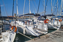 Sailing-boats in mandraki harbour Stock Images