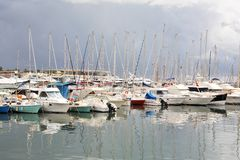 Sailing boats at marina Stock Images