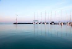 Sailing boats in the marina, lake Balaton Stock Images