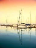 Sailing boats in the marina, lake Balaton Royalty Free Stock Photos