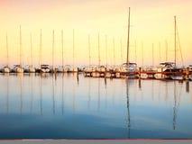 Sailing boats in the marina, lake Balaton Royalty Free Stock Images