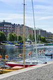 Sailing boats moored Harnosand Royalty Free Stock Images