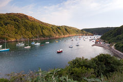 Sailing boats moored in the scenic harbor of Solva Royalty Free Stock Images