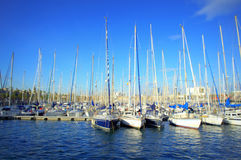 Sailing boats mooring,Barcelona port Royalty Free Stock Images