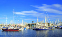 Sailing boats mooring,Barcelona port Royalty Free Stock Photo