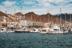 Free Sailing Boats, Motorboats And Yachts At Santa Cruz Marina Harbour Royalty Free Stock Photography - 161575087