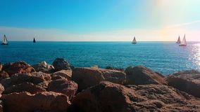 Sailing Boats Moving on Horizon stock video