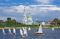 Sailing boats near the Catherine's convent. Stock Photography