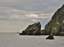 Sailing boats near Howth Peninsula. Royalty Free Stock Images