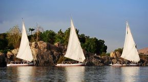 Sailing boats on the nile river stock photos