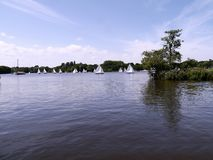 Sailing boats on the Norfolk Broads Royalty Free Stock Image