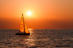 Sailing Boats On A Background Of A L Sunset Royalty Free Stock Photography