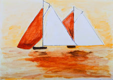 Sailing boats painting in orange. Acrylics vector illustration