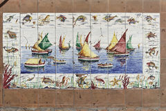 Sailing Boats Painting in Tiles Stock Image